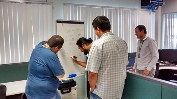 Time participando da criação do protótipo